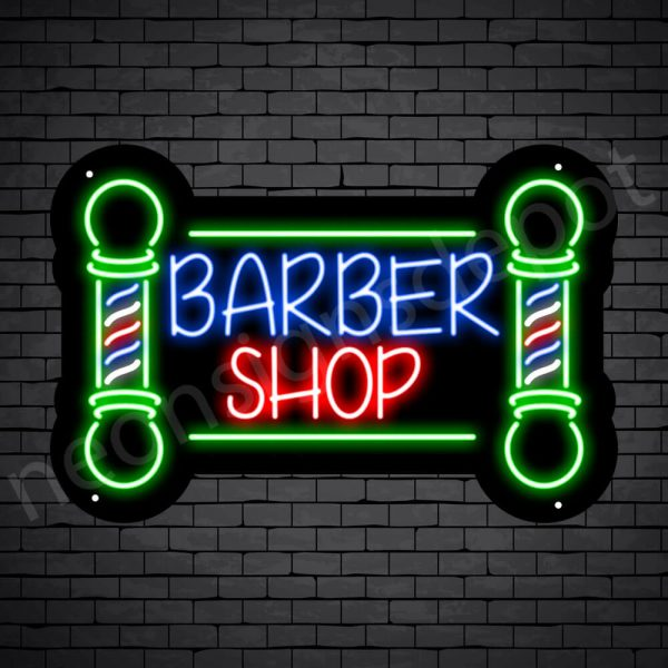 Barber Neon Sign Barbershop Two Poles Black - 24x16
