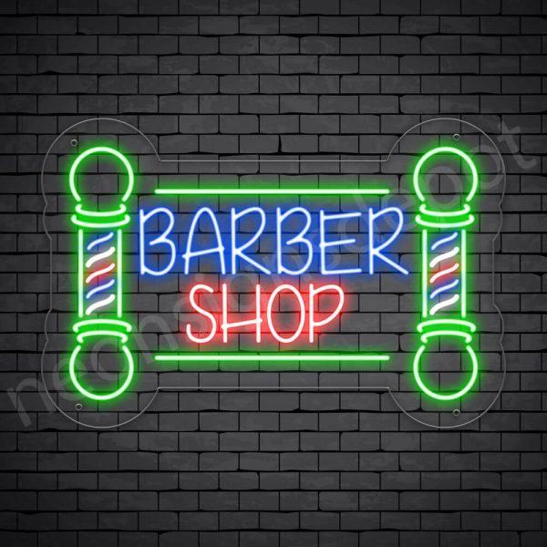 Barber Neon Sign Cut Open Transparent - 24x16