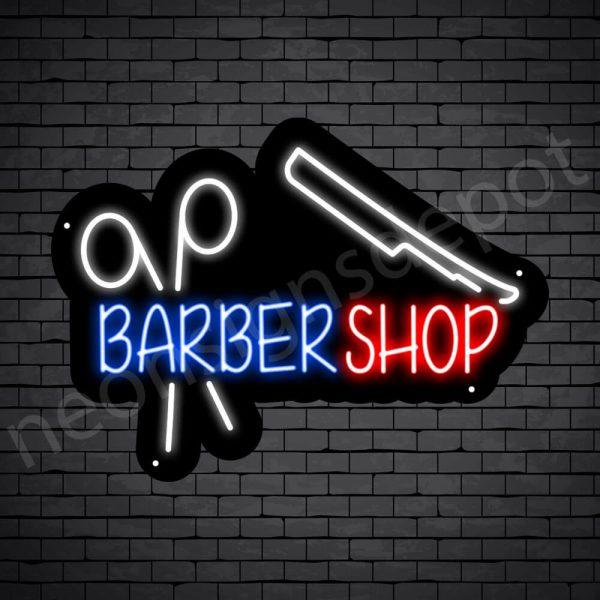 Barber Neon Sign Barbershop Scissor & Razor Black - 24x18