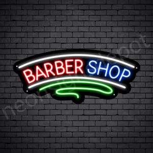 Barber Neon Sign Curve Barbershop Black - 24x10