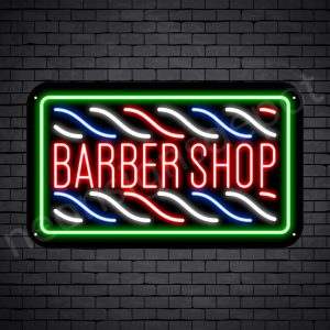 Barber Neon Sign Barbershop Horizontal Poles Black - 24x14