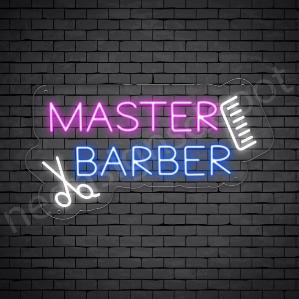 Barber Neon Sign King Barbers Cut - transparent
