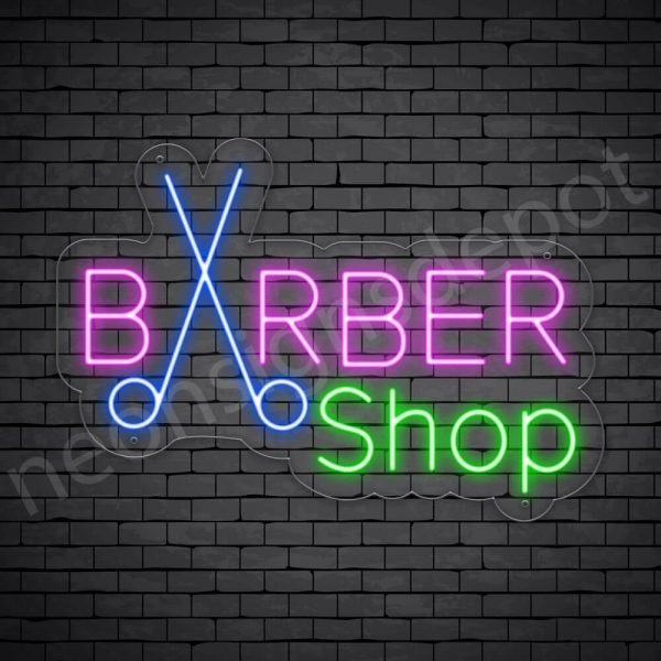 Barber Neon Sign King Barbers Cut & Shave Transparent - 24x17