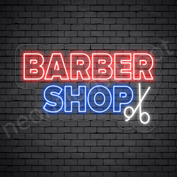 Barber Neon Sign Kings Cut&Shave Transparent - 24x14