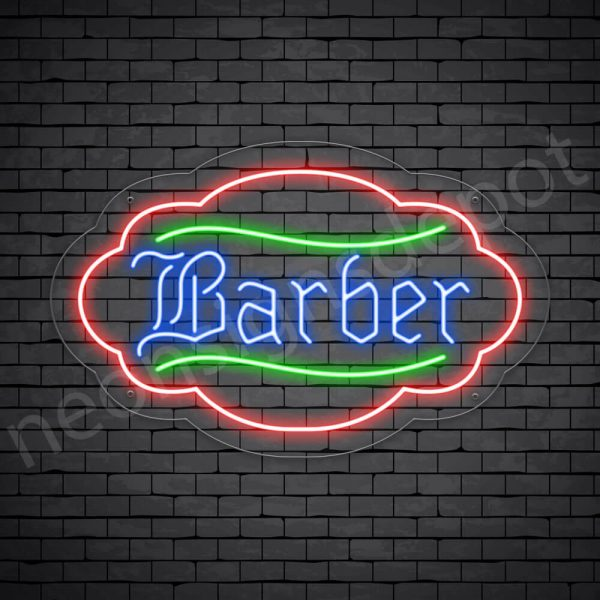 Barber Neon Sign Kings Haircut Transparent - 24x19