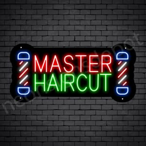 Barber Neon Sign Master Haircut POLE - Black