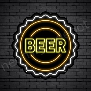 Beer Neon Sign Beer Cap Black - 24x24