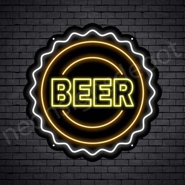 Beer Neon Sign Beer Cap Black - 24x24