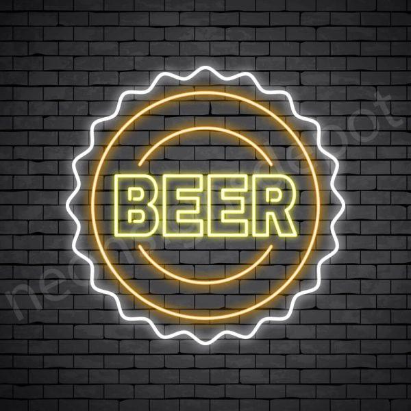 Beer Neon Sign Beer Cap Transparent - 30x30