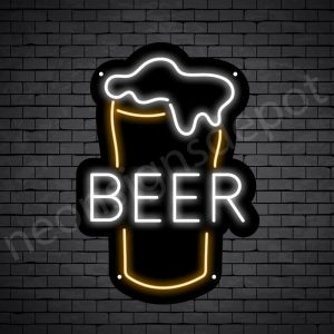 Beer Neon Sign Beer Glass Black - 30x21