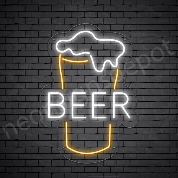 Beer Neon Sign Beer Glass Transparent - 30x21
