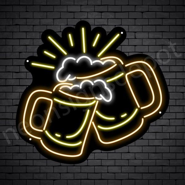 Beer Neon Sign Cheers Beers Black - 22x24