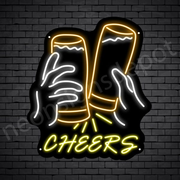 Beer Neon Sign Cheers Two Glasses Black - 21x24