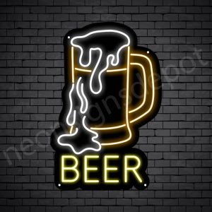 Beer Neon Sign Full Beer Black - 16x24
