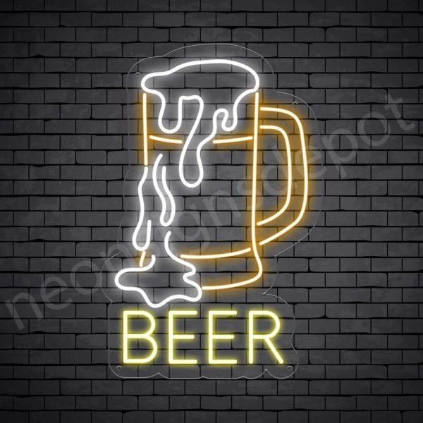 Beer Neon Sign Full Beer Transparent - 16x24