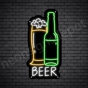 Beer Neon Sign Glass Bottle Black - 12x24