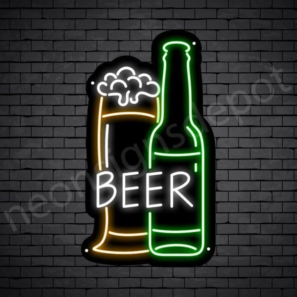 Beer Neon Sign Full Glass Bottle Black - 14x24