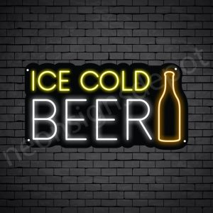 Beer Neon Sign Ice Cold Beer Bottle - Black