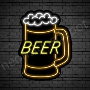 Beer Neon Sign Jar Beer - Black