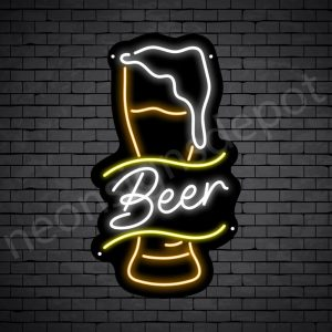 Beer Neon Sign Retro Full Beer Black - 14x24