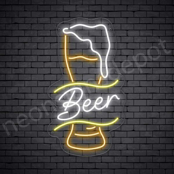 Beer Neon Sign Retro Full Beer Transparent - 14x24