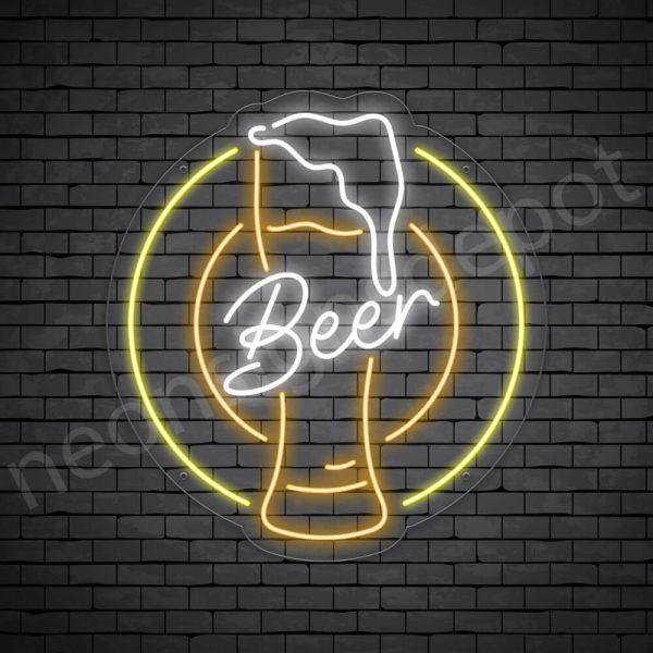 Beer Neon Sign Retro Beer Transparent - 22x24