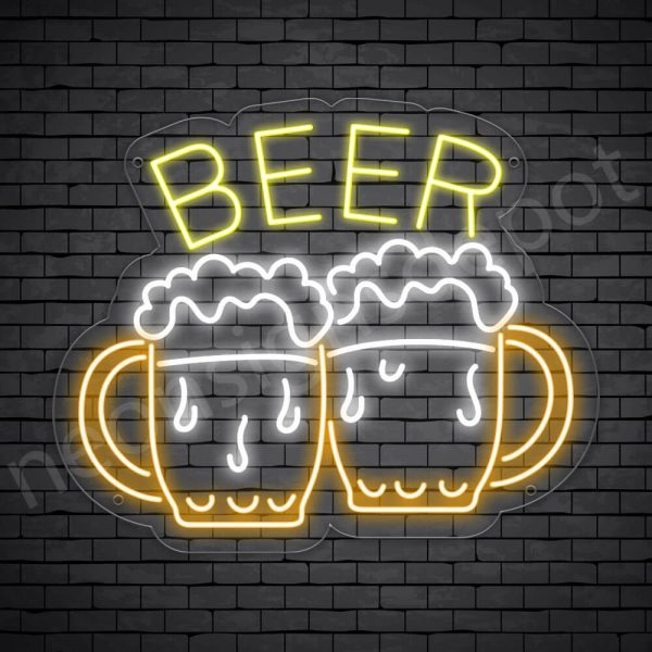 Beer Neon Sign Two Beers Transparent 24x20