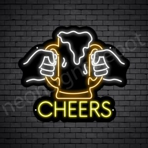 Beer Neon Sign Two Hands Cheers beer - 24x21