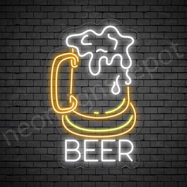 Beer Neon Sign Vintage Full Beer Transparent - 16x24