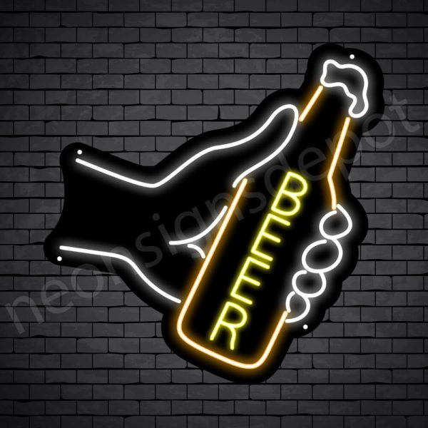 Beer Neon Sign Hand Beer Black - 24x24