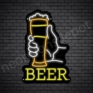 Beer Neon Sign Long Glass Beer Black-16x24