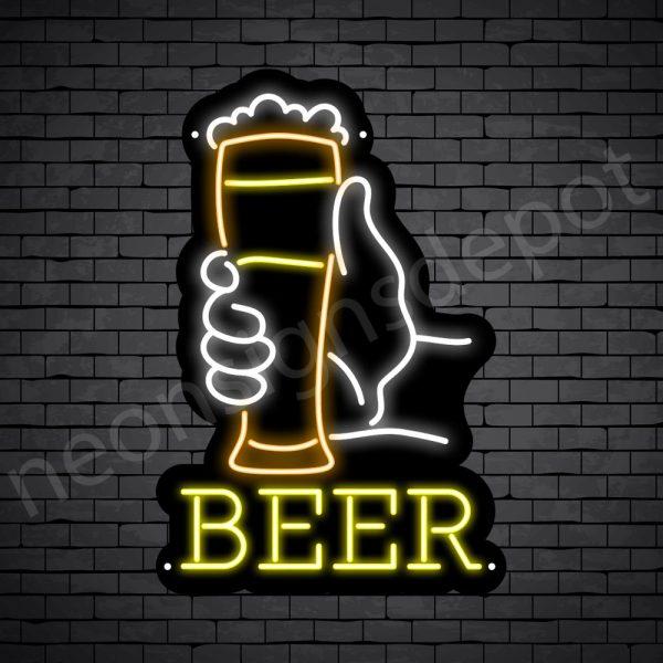 Beer Neon Sign Long Glass Beer Black-16x24