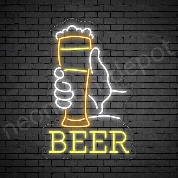 Beer Neon Sign Long Glass Beer Transparent - 16x24