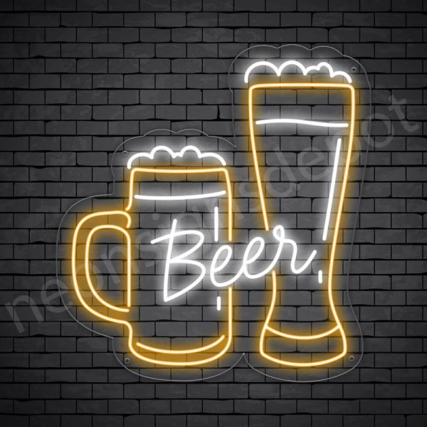 Beer Neon Sign Mug Glass Beer 22x24