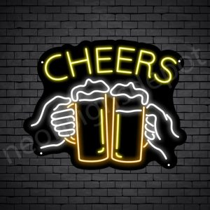 Beer Neon Sign Two Hand Jars Black - 19x24
