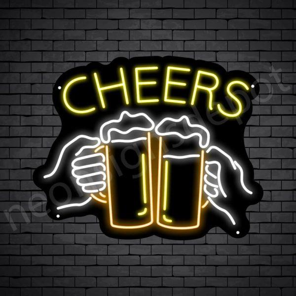 Beer Neon Sign Two Hand Jars Black - 19x24