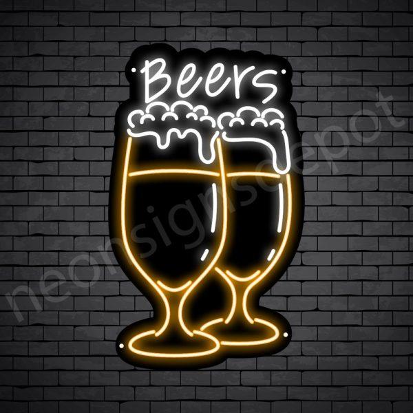 Beer Neon Sign Wine Glass Full Beer - 15x24