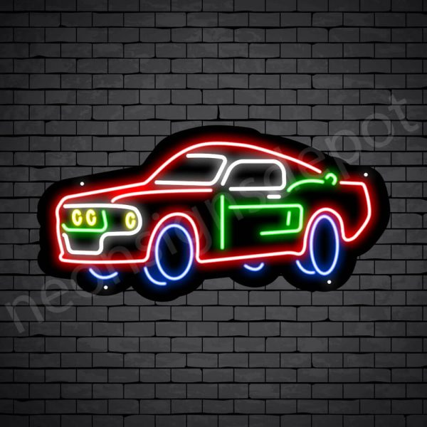 Car Neon Sign Classic Auto Car Black - 24x12