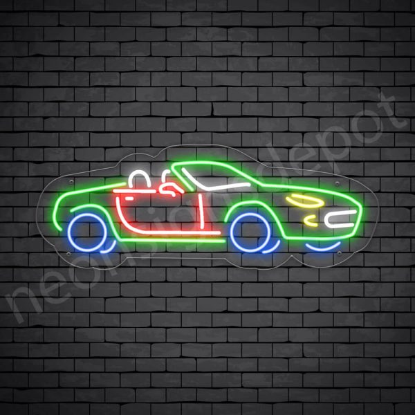 Car Neon Sign Fancy Car Transparent -24x9