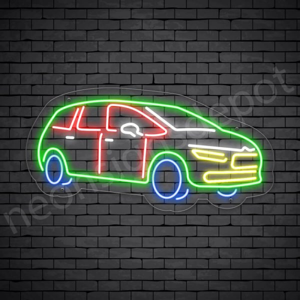 Car Neon Sign SUV Style Transparent- 24x12