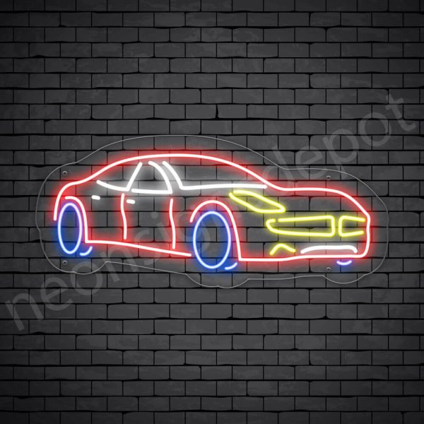 Car Neon Sign Supper Car Transparent - 24x10