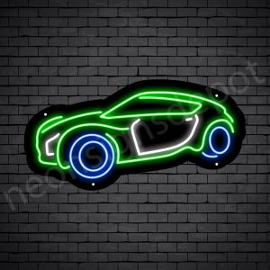 Car Neon Sign Super Fast Car Black - 24x12