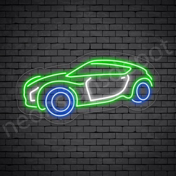 Car Neon Sign Zero Emission Car Transparent - 24x12
