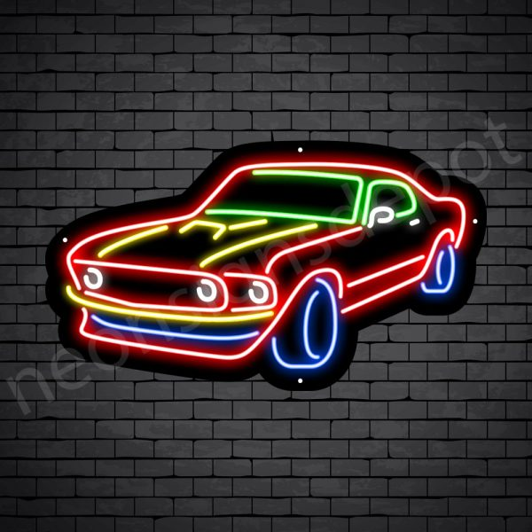 Car Neon Sign Mustang Black -24x14