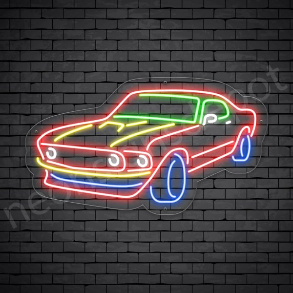 Car Neon Sign Mustang Transparent - 24x14