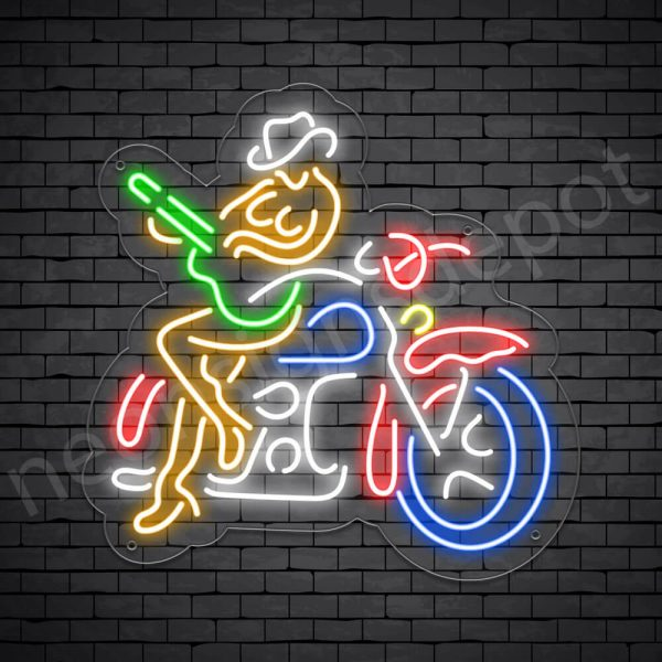 Cowgirl Motorcycle Sign - Transparent