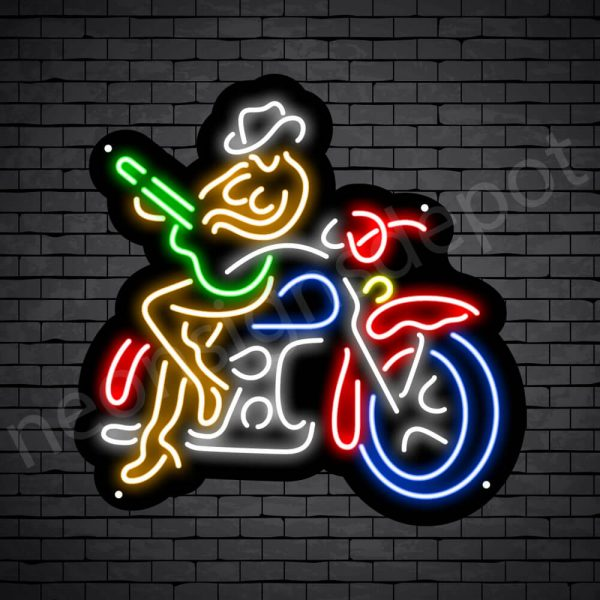 Cowgirl Motorcycle Sign - Black