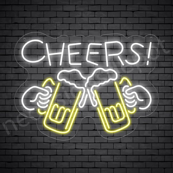 Cheers Draft Beer Neon Sign - Transparent