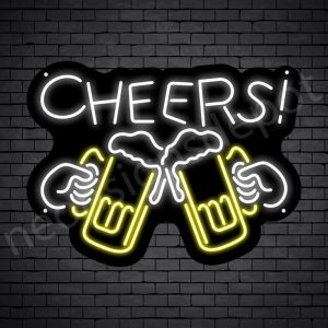 Cheers Draft Beer Neon Sign - Black
