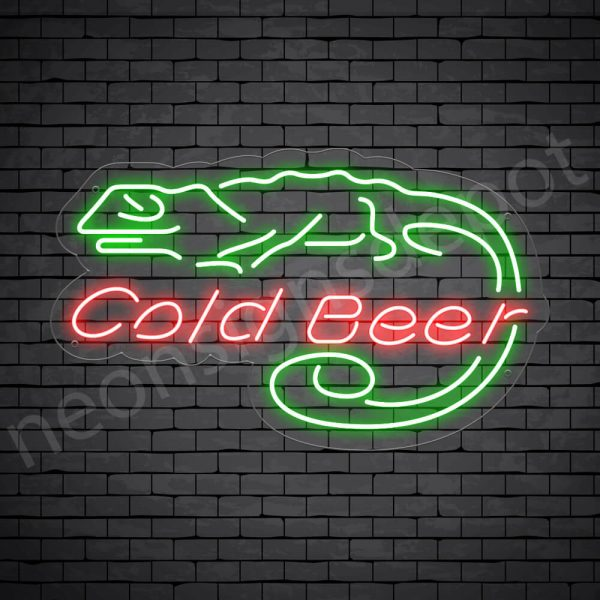 Cold Beer Lizard Neon Bar Sign - Transparent